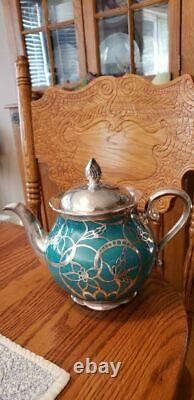 RARE Art Deco Signed Bavarian Seltmann Silver Overlay Tea Set-Turquoise