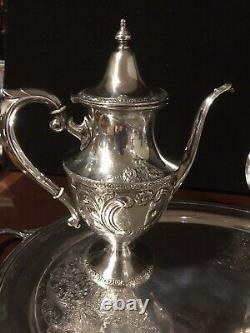RARE EARLY 1900s ARTCRAFT 5 PC. STERLING SILVER COFFEE, TEA SET ANTIQUE SERVING
