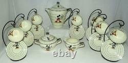 RARE EX! FRENCH DISNEY c1935 19PIECE MICKEY MOUSEART DECOLARGE CHINA TEA SET