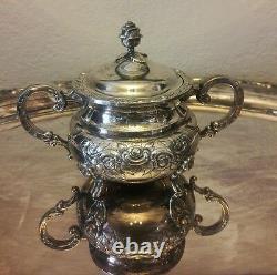 RARE Large 5 Piece Eugen Ferner 1966 Silver Plate Tea Set Rose Pot Sugar Tray