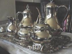 REED BARTON Provincial # 7040 5 piece SILVERPLATE TEA SET