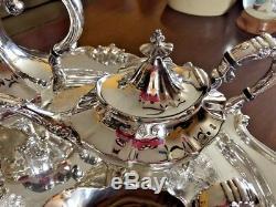 REED & BARTON Victorian Set Coffee, Tea, Creamer, Sugar & 28 Butler Tray VTG