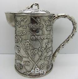 Rare Chinese Export Silver 3 piece PRUNUS and'CRACKED ICE' tea set. SIGNED 1900