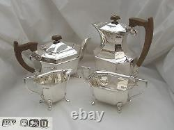 Rare George VI Hm Sterling Silver 4 Piece Tea Set 1937