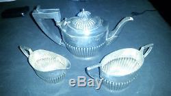 Rare Sterling Silver Bachelor Tea Set, Birmingham, Circa 1909, Isadore Leapman