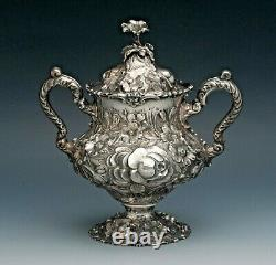 Rare Stieff Rose Sterling Silver 5 piece Coffee/Tea Set, Full Chased 1100 Series