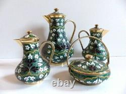 Rare & Superb Russian Soviet Gilt Enamel Sterling Silver 916 Tea Coffee Set 4pcs