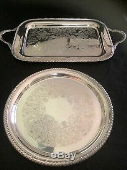 Reed And Barton Winthrop Pumkin Coffee And Tea Set With Tray & Two Serving Trays