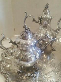 Reed & Barton #1795 Winthrop Silver-Plated 5-Piece Matching Tea Set Re- Silvered