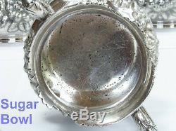 Reed & Barton Silverplate Stunning Floral Pattern #3518 4PC Coffee & Tea Set