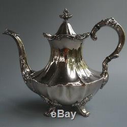 Reed Barton Victorian Silver Plate Coffee Tea Pot Sugar Bowl Lid Creamer 4pc Set