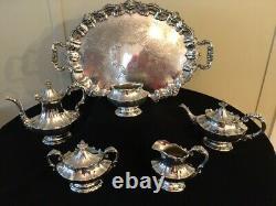 Reed & Barton Victorian Silverplate 6 PC Tea-Coffee Set, 6700