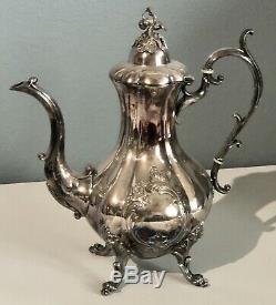 Reed & Barton Winthrop Pumpkin Silver Plate footed Coffee Tea Set 1795 e