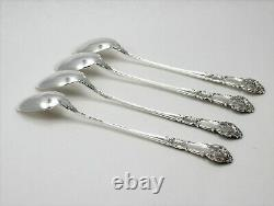 Reed and Barton French Renaissance Sterling Silver Iced Tea Spoons Set of 4
