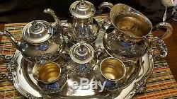 Reed and Barton Silver Plate Regent 5600s 7 piece Tea Set