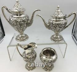 Repousse High Relief Schofield 4-Piece Sterling Silver Tea/Coffee Set