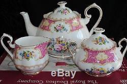 Royal Albert Bone China Lady Carlyle 3 Piece Tea Set Tea Pot Creamer Sugar Box