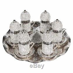 (SET of 6)Turkish Coffee Tea Glasses Set Saucers Holders Decorated Crystal Set