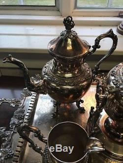 SILVER PLATE TEA SET English Hallmarked Intricate Decorative 6 piece SET