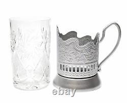 SILVER Set of 4 Russian Vintage Crystal Tea Glass & Handmade Holder Podstakannik