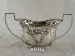 SUPERB ANTIQUE VICTORIAN SOLID STERLING SILVER TEA SET CHESTER 1899 467 g