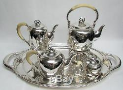 SVEND TOXVAERD STERLING SILVER DENMARK COFFEE & TEA SET With WATER KETTLE & TRAY