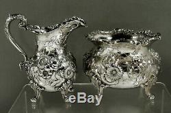 Samuel Kirk Sterling Tea Set c1905 Hand Decorated