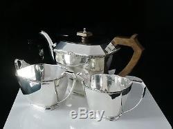 Scottish Art Deco Silver Teaset, Edinburgh 1938, Henry Tatton & Son Ltd