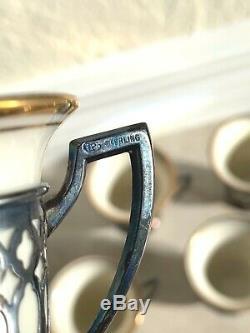 Set 9 Vintage FP Sterling Silver Demitasse Cup Saucer Tea Espresso Lenox Liner