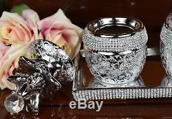 Set of 3 Silver Pineapple Tea Sugar Coffee Ceramic Kitchen Storage Jars & Tray