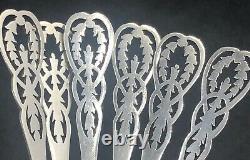 Set of 6 hand pierced sterling silver tea spoons Sheffield 1915 (A)