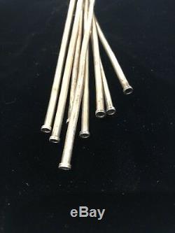 Set of 8 Vintage TAXCO Silver Iced Tea Spoons / Straws