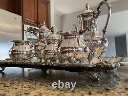 Sheridan Silver Co Silver-plated 6 Piece Tea Coffee Set with XL Butlers Tray