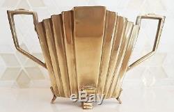 Silver Art Deco Odeon Fan Shaped Tea Set Tea Pot, Milk Jug & Sugar Bowl. C. 1930