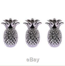 Silver Pineapple Jar Set Of 3 Tea Sugar Coffee Ornament Storage Jars Romany Gift