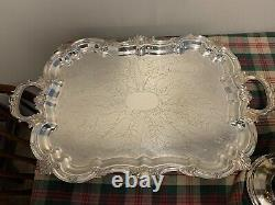Silver plated tea set with tray