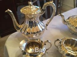 Six Piece Vintage Coffee Tea Tray Service Set Community Silver Melon Sheffield