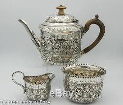 Solid silver 3 piece Victorian aesthetic movement bachelor tea set 1887 Mappin