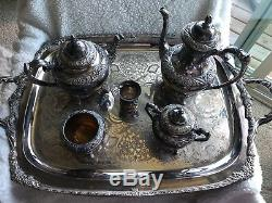 Stamped 1847 Rogers Brothers Silver Heritage Tea/coffee Set Floral Footed