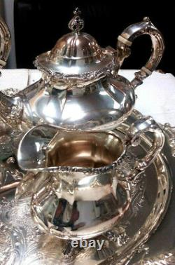 Sterling Silver 4pc Tea Set Reed Barton Georgian Rose Silverplate Tara Hall Tray