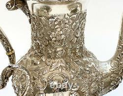 Sterling Silver Repousse 4 Piece Coffee Tea Service Set. Floral Designs