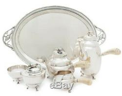 Sterling Silver Tea & Coffee Set With Sterling Tray In Manner Of Georg Jensen