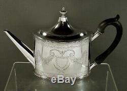 Sterling Silver Tea Set (4) Georgian Hand Decorated