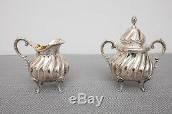 Sterling Silver Vintage Tea Set Teapot, Coffee Pot, Sugar, Creamer, Tray, 3705g
