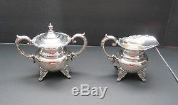 Sterling-Silver-Vintage-Tea-and-Coffee-Set-4-pc- ROSES -950 Sterling 72 ozt