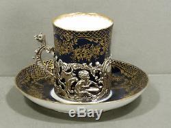 Sterling Tea Set DRAGON FRAMES & STAFFORDSHIRE CUPS SAUCERS 1901