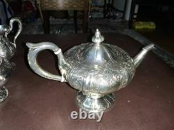 Sterling silver tea set with tray, Virginia, 6 Piece 64.54+51.8 Troy Ounces