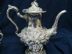 Stieff Hand Chased Sterling Extraordinary 1100 1/2 Heavy 5 Pce Tea Set Xlnt Cond