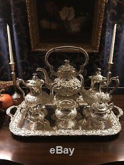 Stieff Hand Chased Sterling Silver Seven Piece Tea Set with Kettle and Tray
