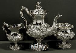 Stieff Sterling Silver Tea Set 1948 HAND CHASED WEIGHS 55 OUNCES